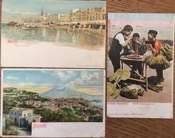 """3 CPA , Napoli """"Marinella Al Carmine (1908, Timbre), Napoli (1908), Costumi Napoletani """"Monelli Mangiamaccheroni"""" - Napoli"""
