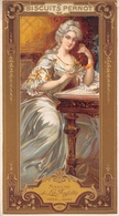 ¤¤   -  Carte Publicitaire Gauffrée  -  BISCUITS PERNOT  -  Madame De LA FAYETTE  -  Voir Description     -   ¤¤ - Publicité