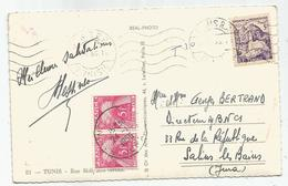 TAXE 5FR ROSE PAIRE SALINS JURA 1956 CARTE TUNISIE 5FR SEUL TUNIS - Postmark Collection (Covers)