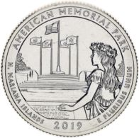 "USA 25 Cents (a Quarter) 2019 S ""47th Park - Memorial Park"" UNC - Emissioni Federali"