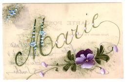 PRENOM - MARIE - Carte En Celluoïd - Peinte à La Main - Handpainted - FLEURS - FLOWERS - Firstnames