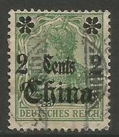 German Offices China - 1905 Germania Overprint  & Surcharge 2c/5pf Used  Sc 38 - Offices: China