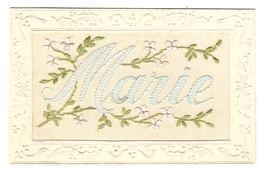 CARTE BRODÉE - PRÉNOM MARIE - FLEURS - FLOWERS - Embroidered