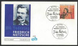 IN26  Germany 2000 FDC Friedrich Nietzsche, German Philologist Philosopher Critic Poet Composer - Scrittori