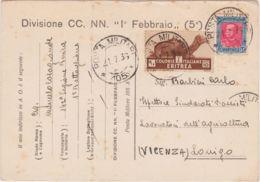 """1936 DIVISIONE CC.NN. """"1  FEBBRAIO"""" Viaggiata Posta Militare 105 (1.7) Affrancata Eritrea C.10 E 20 Piega Verticale - Eritrea"""