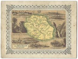 LA RÉUNION - Île BOURBON - Vieux Document Cartonné Avec Carte Et Lieux - 24 X 18 Cm - Vieux Papiers