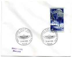 AVION = PARIS 1969 = CACHET PREMIER JOUR  Illustré FDC + N° 1603 = PARACHUTISTES S.A.S. ET COMMANDOS F.E.L. - FDC