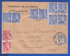 """Lettre """" Tribunal De St Mihiel"""" Aff. Mercure/Arc De Triomple Obl. St Mihiel 31.01.1945 -> Commercy - Guerre De 1939-45"""