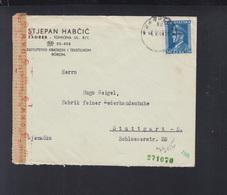 Croatia Cover Zagreb To Stuttgart 1944 Censor - Croatia