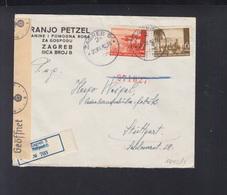 Croatia Registered Cover 1942 To Stuttgart Censor (2) - Kroatien
