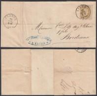 """Belgique - COB 32 Sur Lettre De Liège Vers Bordeaux - Verso Ambulant """" France Midi 2 """" (DD) DC 3104 - 1869-1883 Leopold II"""