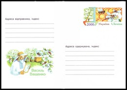 UKRAINE 2000. (0-3329). VASYL VASHCHENKO. HONEYBEES, BEEKEEPING. Postal Stationery Stamped Cover (**) - Ukraine