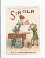 SINGER MACHINES A COUDRE CARTE PUBLICITAIRE CALENDRIER A MOISSAC TARN ET GARONNE 1913 - Publicité