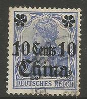 German Offices China - 1913 Germania Overprint  & Surcharge 10c/20pf Used Sc 50 - Offices: China
