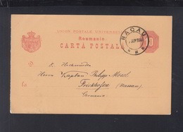 Romania Stationery 1893 Bacau To Germany - 1881-1918: Carol I.