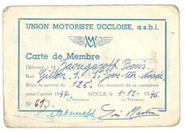 Carte De Membre Union Motoriste Uccloise ( Uccle , Belgique ) - Other
