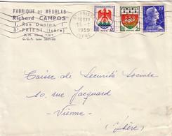 MULLER - ISERE - ST PRIEST - 15-1-1959 - AFFRANCHISSEMENT COMPOSE A 25c AVEC 20F MULLER. - Posttarife