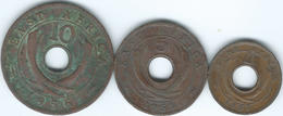East Africa - Elizabeth II - 1 Cent - 1957 (KM35) 5 Cents - 1955 (KM37) & 10 Cents - 1956 (KM38) - Colonia Britannica