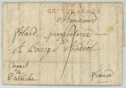 N° 3 GRANDE ARMEE / LàC 14 Juillet 1808 De Stettin (Pologne) Pour Bourg-St-Andéol . Folard Blessé . Général Demont . - Marcophilie (Lettres)