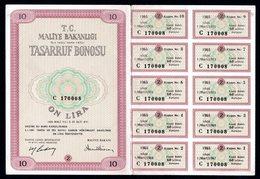 1965 TURKEY 10 LIRA TREASURY BOND - Turchia