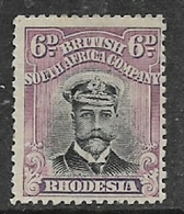 Southern Rhodesia / B.S.A.Co.,GVR, 1913, Admiral, 6d Black & Purple, Die II,perf 14 - Southern Rhodesia (...-1964)