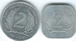 East Caribbean - Elizabeth II - 2 Cents - 1981 (KM11) & 2008 (KM35) - East Caribbean States