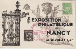 France Carte Souvenir 1942 Expo. Nancy Avec Timbre Perforé EPN - Francia
