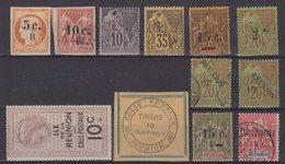 REUNION : 12 EX . 1 EX (*) . LES AUTRES * ET OBL . 1886/07 . - Réunion (1852-1975)