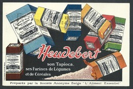 """+++ CPA - Carte Publicitaire - Publicité HEUDEBERT - Usines Belges """" L'Aliment Essentiel """" - Bruxelles   // - Publicité"""