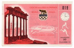 1960 SUMMER OLYMPIC GAMES, ROME, ITALY, TICKET FOR ATHLETICS, USED - Tickets - Vouchers