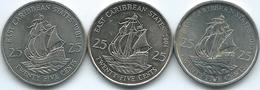 East Caribbean - Elizabeth II - 25 Cents - 1981 (KM14) 2004 (KM38) 2010 (KM38a) - East Caribbean States