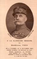 FAIRE PART DE DECES DU MARECHAL FOCH AVEC UN EXTRAIT DE L'ELOGE DE POINCARE - Obituary Notices