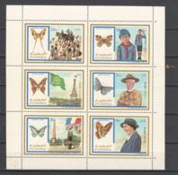 Fujeira 1972 Kleinbogen Mi 999-1004 MNH ANIMALS BUTTERFLIES - Vlinders