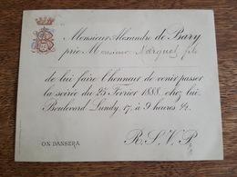 Reims 1888 - Faire Part De Soirée Dansante De Mr Alexandre De Bary (Champagne) à Mr Marguet Fils, Boulevard Lundry, 17 - Announcements
