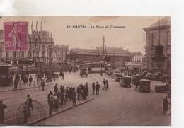Cpa.44.Nantes.La Place Du Commerce.animé Voitures Trams Personnages - Nantes