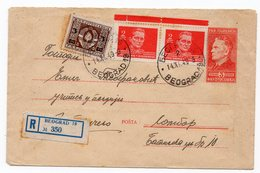 1949 YUGOSLAVIA, SERBIA, BELGRADE TO SOMBOR, PRINTED COVER 3 DINAR , TITO IN RED WITH 3 ADDED STAMPS, 9.50 - 1945-1992 Socialist Federal Republic Of Yugoslavia