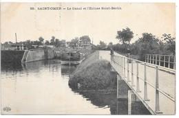 Cpa...Saint-Omer...le Canal Et L'écluse Saint-bertin...animée..péniche.. - Saint Omer