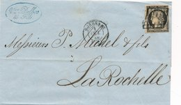 & LETTRE GIRONDE N°3 GRILLE BORDEAUX POUR LA ROCHELLE 1849 & - Marcophilie (Lettres)