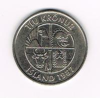 //  IJSLAND  10 KRONUR 1987 - Islande