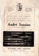 Sedan Et Bouillon (Belgique) Tarif  ANDRE SUZAINE  Fabrique De Compas  16922 (PPP18186) - Publicités