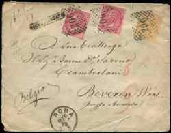ITALIE - Let. 15 Et 19 (2) Obl. GC 206 S. Env. Rec. De Rome 20/10/75, Arr. ANVERS, TB - 1861-78 Victor Emmanuel II