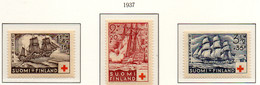 PIA - FINLANDIA  - 1937 : Pro Croce Rossa - Velieri   - (Yv 189-91) - Primo Soccorso
