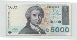 Croatie Billet De 5000 - Croatie