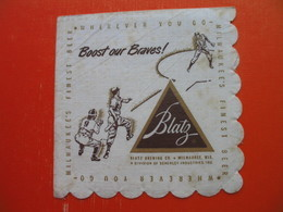 Paper Napkin.Baseball.Blatz Brewing Co.THE BRAVES BOOSTER SONG.Milwaukee - Reclameservetten