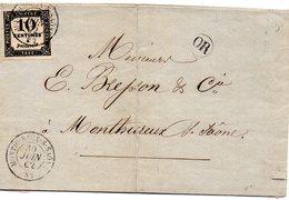 Vosges - Lettre Locale Non Affranchie - Càd Type 15 Monthureux-s-Saône + Idem S/ Taxe N° 2 - Marcophilie (Lettres)