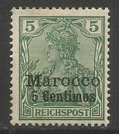 German Offices Morocco - 1900 Germania Overprint  & Surcharge 5c/5pf MH *  Mi  8 - Offices: Morocco