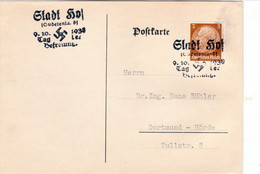 "III. Reich, Postkarte  "" STADT HOF; Tag Der Befreiung"" Nach Dortmund - Hörde, - Germany"