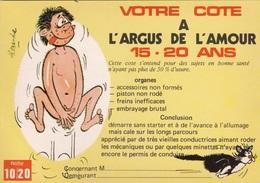 HUMOR UMORISTICHE CARICATURE UOMO VOTRE COTE A L'ARGUS DE L'AMOUR 15-20 ANS  ORIGINALE 100% - Humor