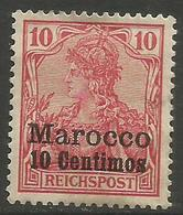 German Offices Morocco - 1900 Germania Overprint  & Surcharge 10c/10pf MH *  Mi  9 - Offices: Morocco