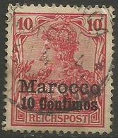 German Offices Morocco - 1900 Germania Overprint  & Surcharge 10c/10pf Used  Mi  9 - Offices: Morocco